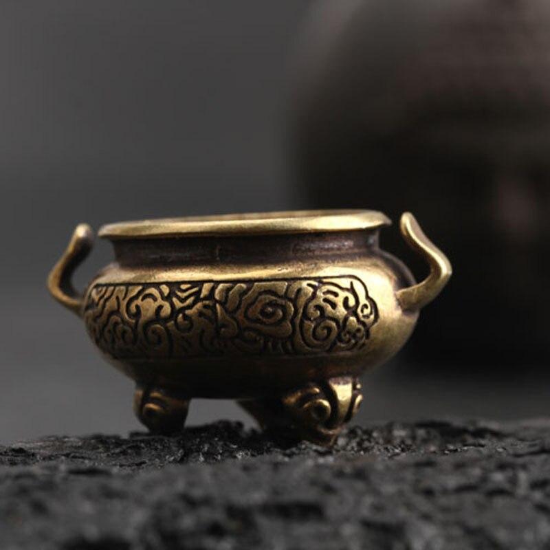 High Quality Copper Antique Mini Three-legged Chinese Auspicious Incense Burner Desktop Office Funny Decoration