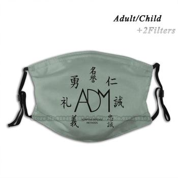 Adaptive Defense Methods Print Reusable Mask Pm2.5 Filter Trendy Mouth Face Mask For Child Adult Adm Martial Arts Bruce Lee image