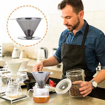 1pc filtr do kawy ze stali nierdzewnej ręcznie pchany filtr do kawy filtr do herbaty filtr papierowy filtr wysokiej jakości Кофейный филтр c50 tanie i dobre opinie CN (pochodzenie) STAINLESS STEEL Trwałe Filtry