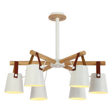 Led nordic iron & solid wood chandelier e27 living room bedroom