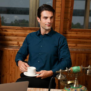Image 3 - גברים רגילה fit של ארוך שרוול למתוח טיפול קל חולצת פורמליות משרד עסקי/עבודה ללבוש במבוק סיבים מוצק חברתי שמלת חולצות
