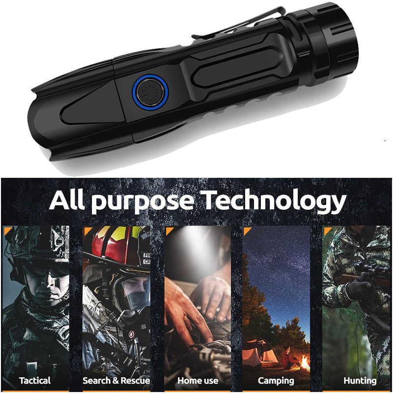 XHP90.2 مصباح ليد جيب XLamp شريحة ذكية التكتيكية التحكم مع أسفل هجوم مخروط USB الشعلة xhp70.2 الفانوس التكتيكية الخفيفة