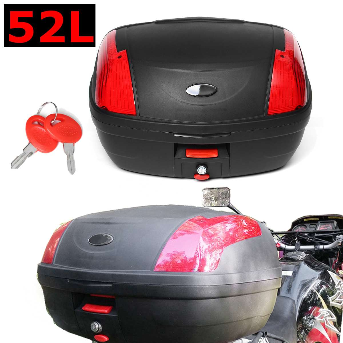 52L Secure Latch Black Motorcycle Trunk With Lock Scooter Top Box Durable Rear Storage Luggage Topbox Case 55x42x32cm New