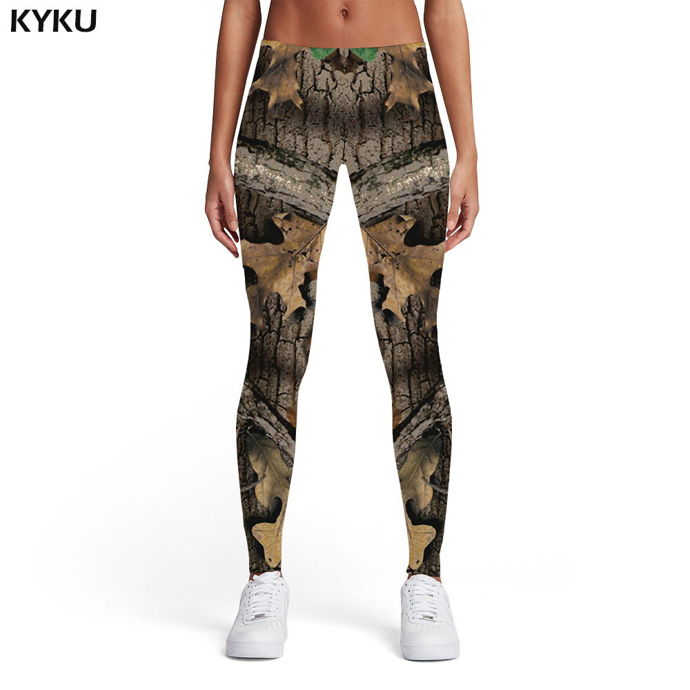 KYKU Grey Camo Leggings Women Camouflage Sport Leaf Sexy Vintage Trousers Gothic Spandex Womens Leggings Pants Fitness Slim
