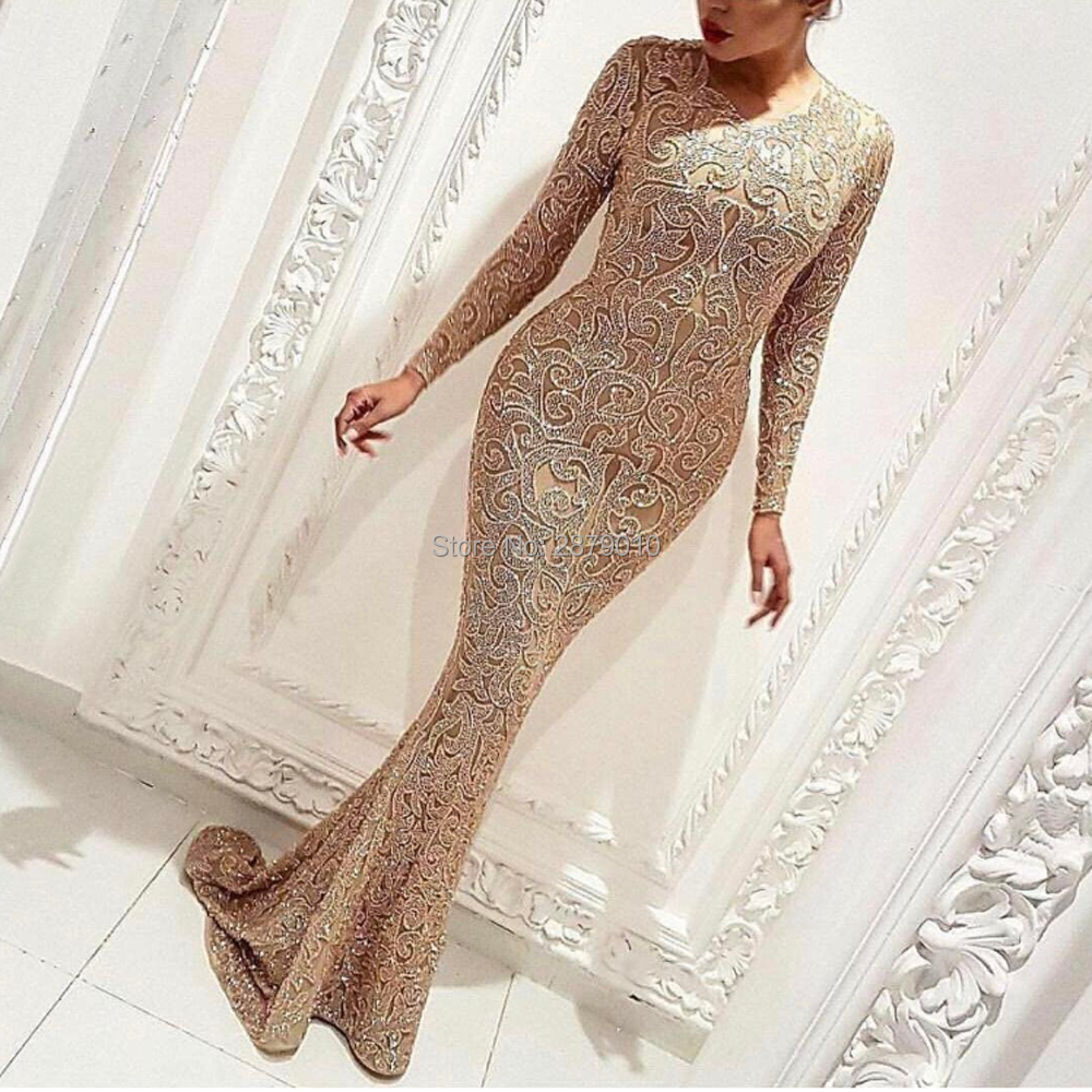 Champagne Scoop Mermaid/Trump Evening Dress Tulle Full Sleeves Metal Spraying Celebrity Dress Full-length Prom Dress Zipper