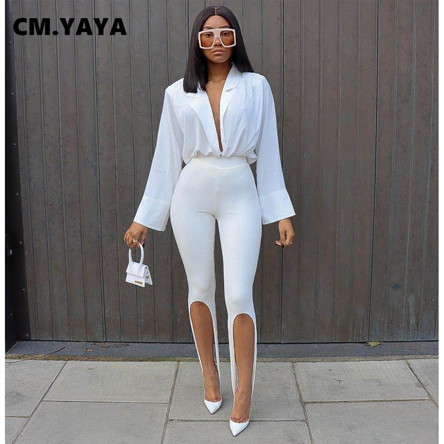 CM.YAYA Women Knit Solid High Slit Legging Pants Streetwear Party High Waist Trousers 1