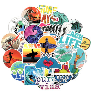 Image 3 - 10/30/50 pcs/pack INS Fun Beach Surfing Stickers For Laptop Luggage Skateboard Guitar Motocycle Doodle Decor Surfboard Stickers