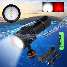 Powerful Lumens White+Red Light color Diving Flashlight LED Torch Underwater 100M Video Camera Photography Lamp for 18650 20000 lumens led underwater video diving light 6 led white 4x red 4x uv blue light 18650 battery waterproof torch