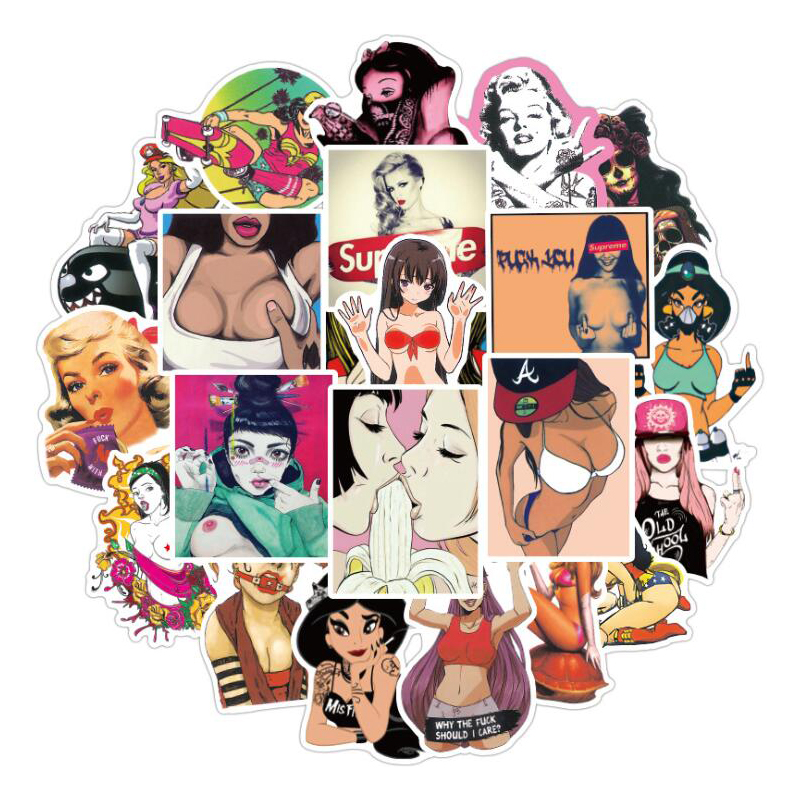 50Pcs/lot Waterproof Sexy Beauty Cartoon Anime Doodle Stickers Suitcase Suitcase Guitar Car Stikers Decal Sticker