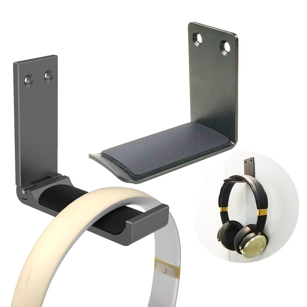 2pcs Headphone Stand Hanger, Headset Holder Mount, Hook Aluminum With Strong Adhesive Tape For Headphones