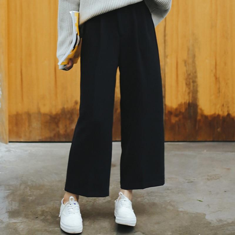 BKMGC Autumn Winter Black Pants Women Wide Leg Pants Solid High Waist Loose Casual Trousers Fashion Korean Cargo Pants Women
