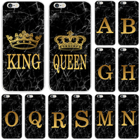 Funda de teléfono para iPhone 6, 6S Plus, 5, 5C, 5S, 4, 4S, SE, 2015, 4 pulgadas, mármol, dorado, alfabeto, fondo, suave, TPU