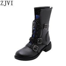 ZJVI women cross tied winter mid calf square heels buckle motorcycle boots woman ladies shoes for girls flats 2019 new arrived