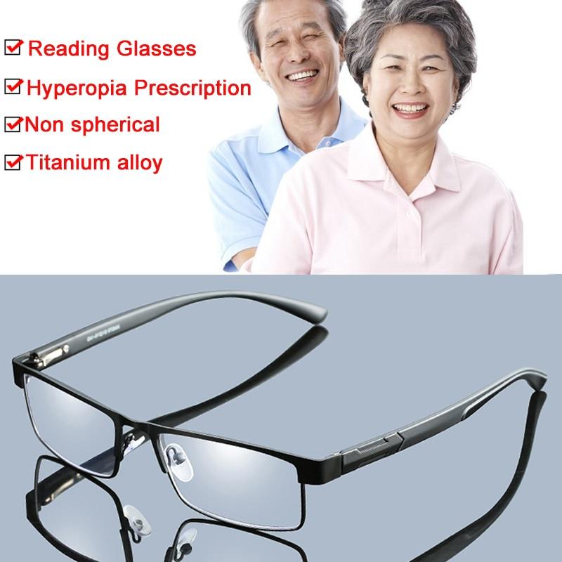 +1.0 To +4.0 Non Spherical 12 Layer Coated Lenses Business Men Titanium Alloy Reading Glasses Hyperopia Prescription Eyeglasses