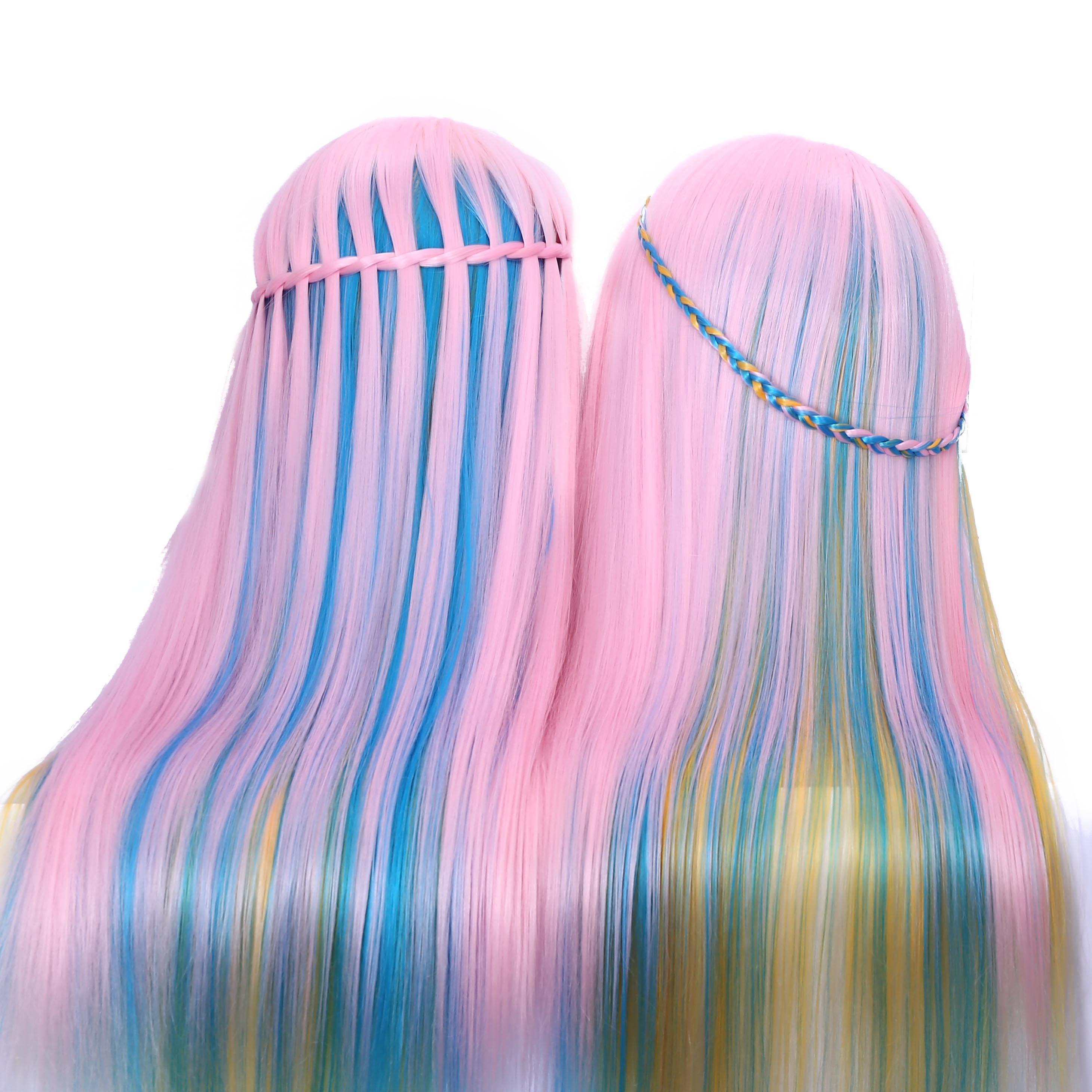 60 см синтетические волосы Парикмахерская учебная голова манекен голова среза салон Практика Модель для парикмахеров Радуга голова