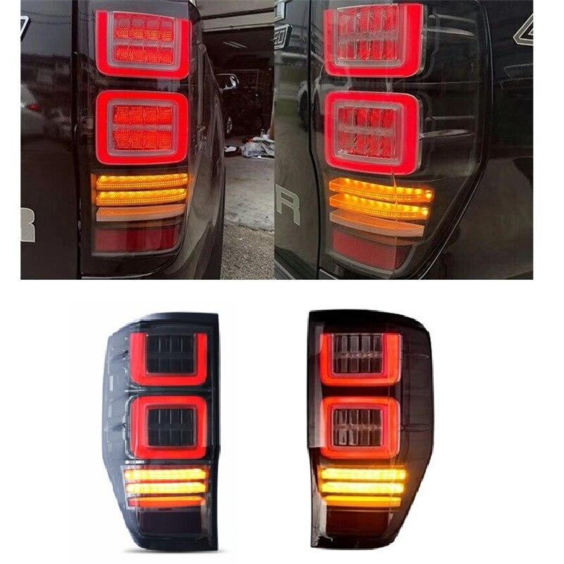Black Smoked Lens LED Rear Tail Light Brake Lamp for Ford Ranger T6 2012-2017