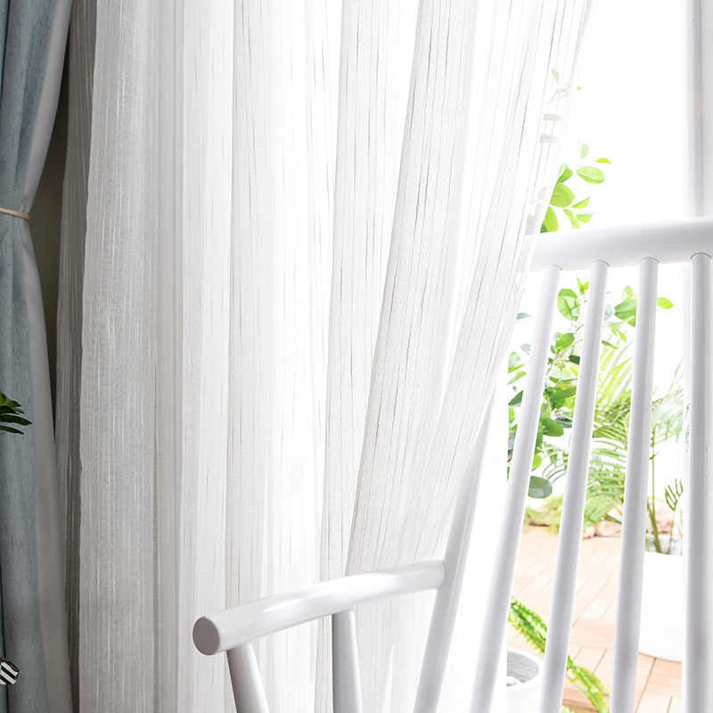 ENHAO רך לבן טול וילונות לסלון יפן סגנון וואל Sheer חלון וילון לחדר שינה אוכל חדר מותאם אישית Ma'de