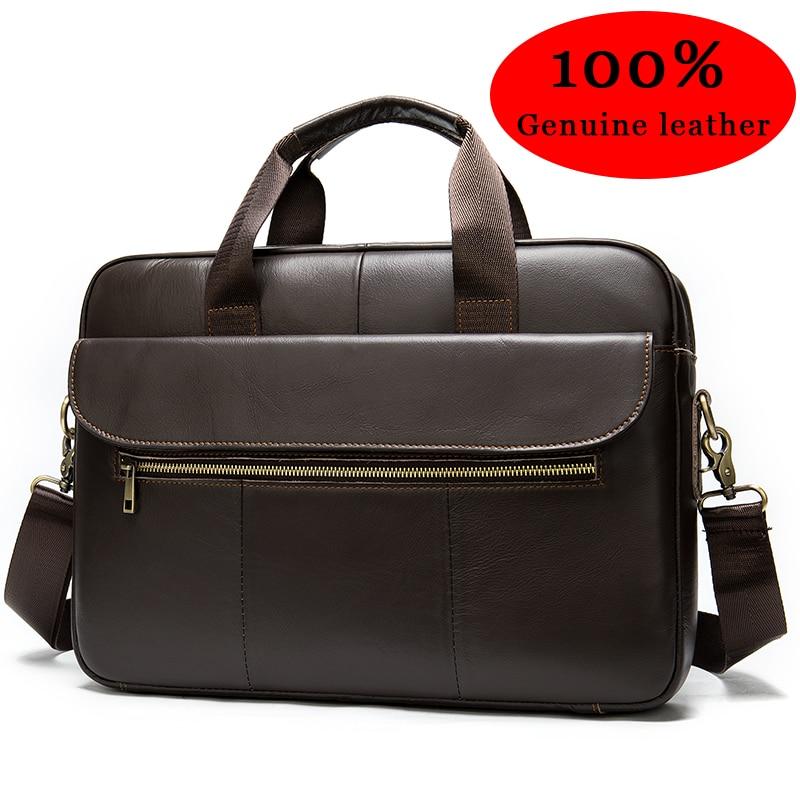Business Men's Briefcase Genuine Leather Bag 15 Inch Laptop Bag Leather Men Briefcase Office Bags For Men Porte Document    1117