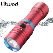 IPX8 Lanterna Z40D68 linterna de buceo 5000LM XM-L2 U3 antorcha lámpara de luz Stepless atenuación subacuática impermeable 80 metros 10W