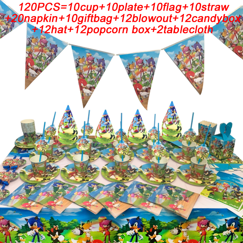 Sonic The Hedgehog Birthday Party Decor Falgs Party Supplies Paper Cups Plates Straws Hat Kids Baby Shower Sonic Party Items Set Disposable Party Tableware Aliexpress
