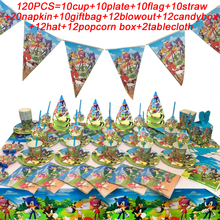 Sonic The Hedgehog Birthday Party Decor Falgs Party Supplies Paper Cups Plates Straws Hat Kids Baby Shower Sonic Party Items Set 40pcs unicorn paper plates large 23cm plates baby shower bbq summer party decor birthday party paper plates wedding decoration