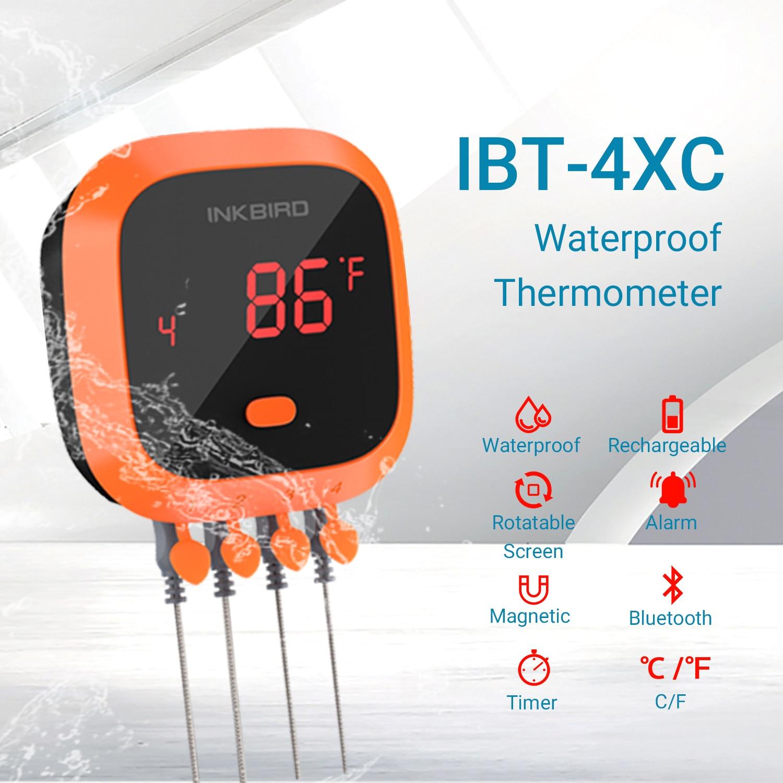 Inkbird thermomètre BBQ numérique sans fil IBT-4XC Bluetooth outil de cuisine cuisine ustensile de cuisine étanche avec 4 sonde et minuterie