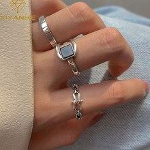 XIYANIKE-anillo cuadrado geométrico de ónix negro para mujer, de Plata de Ley 925, cadena de lujo, diseño único, moda exquisita Simple