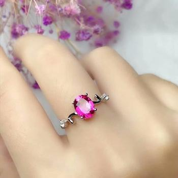 shilovem 925 silver sterling rings natural topaz pink women open classic new fine party open ring gitf 6*8mm  wj060828agfb