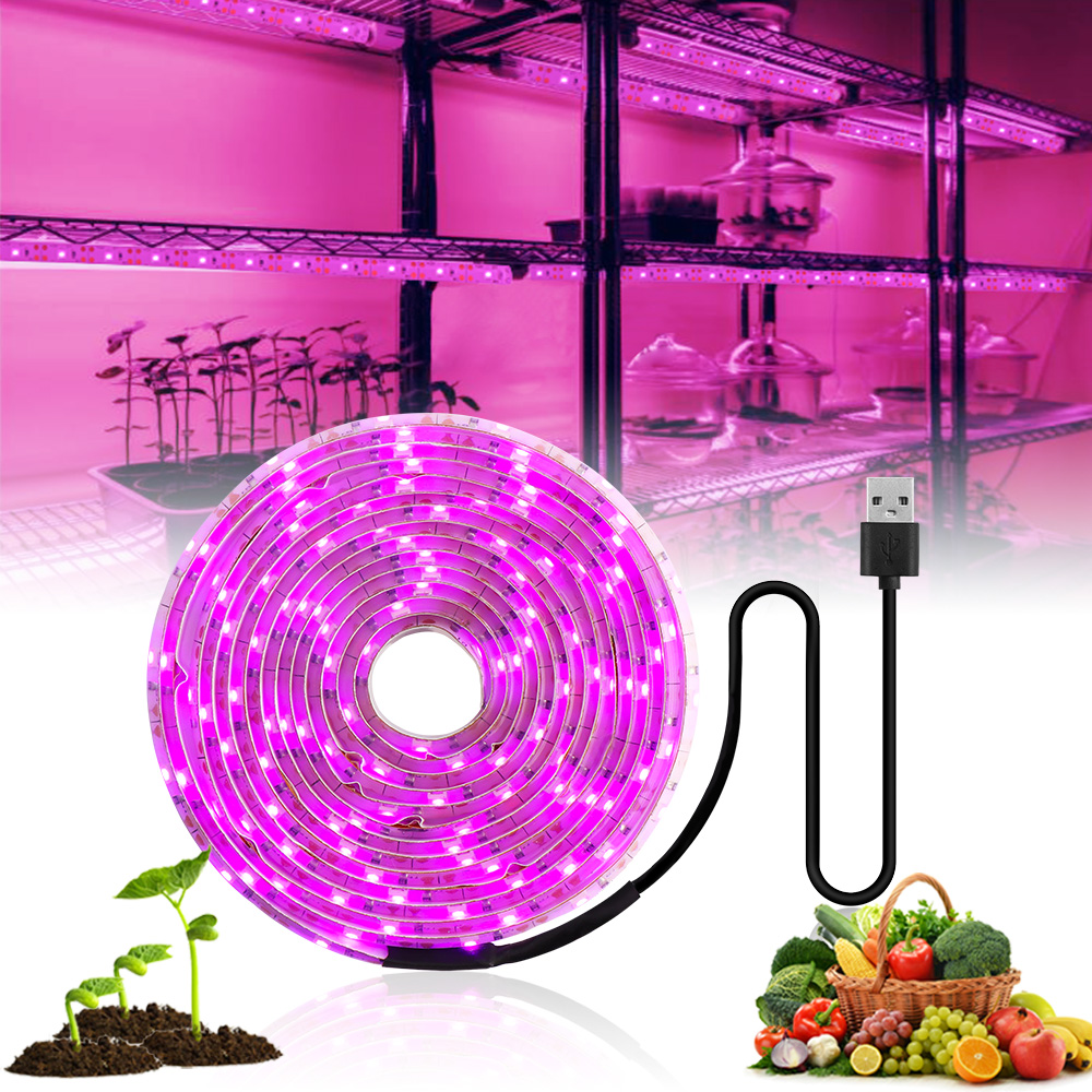 LED Grow Light Full Spectrum 5V USB Grow Light Strip 2835 LED Phyto Lamps For Plants Greenhouse Hydroponic Growing 0.5M 1M 2M 3M