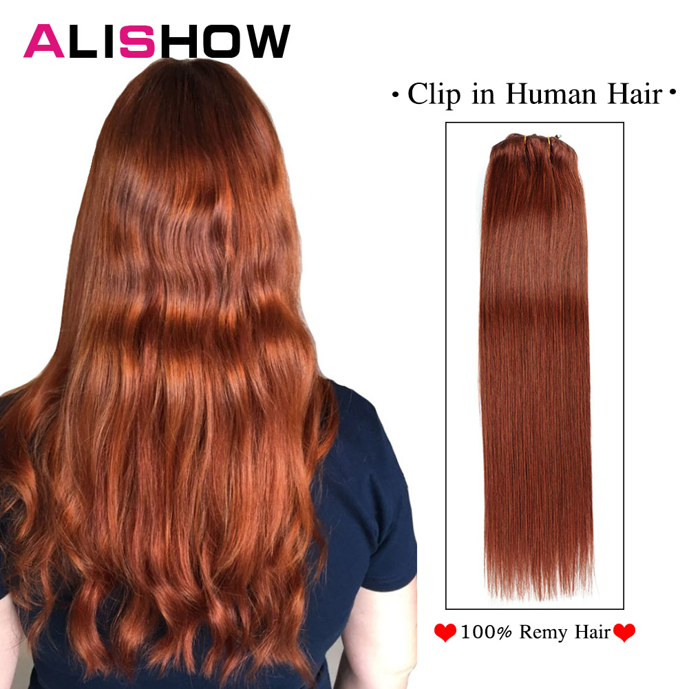 Clip In Human Hair Extensions Full Head Double Weft Brazilian Straight Machine Made Remy Clip In Hair Extensions
