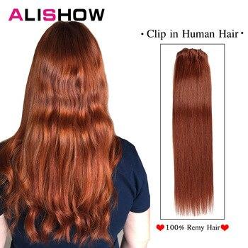 цена на Clip in Human Hair Extensions Full Head Double Weft Brazilian Straight Machine Made Remy Clip In Hair Extensions