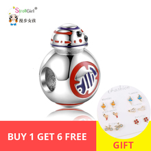 StrollGirl 100%925 Sterling Silver Beads Movie Show Robot Charm Series Suitable for Pandora Bracelet Women Fashion Jewelry Gifts