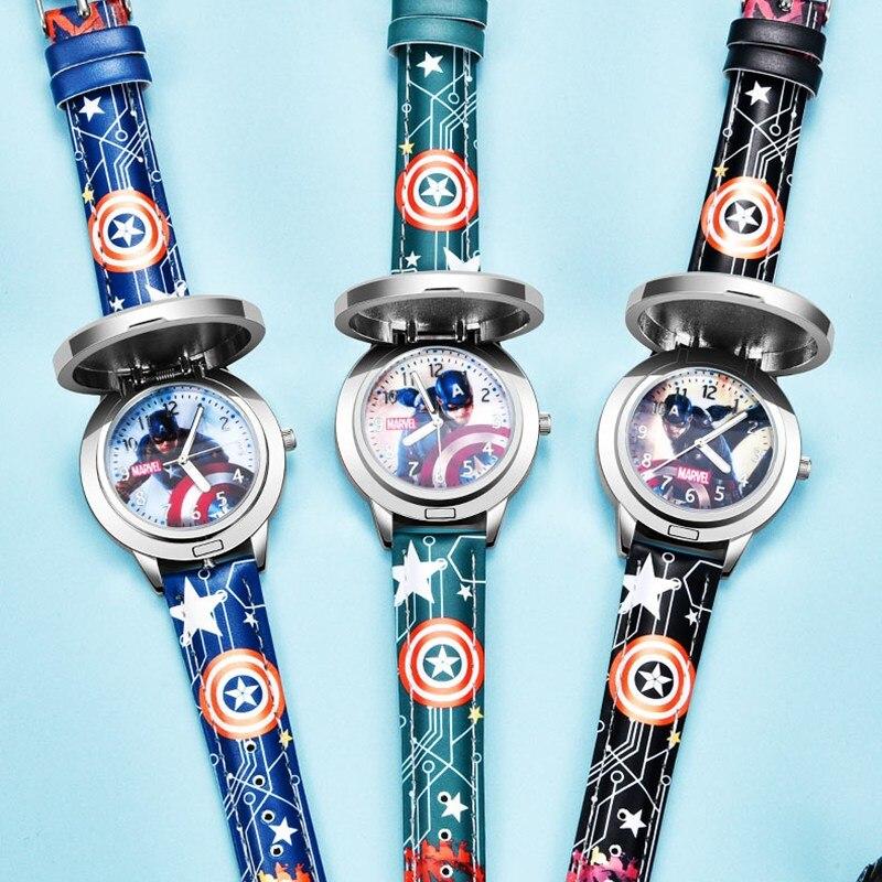 Marvel Мстители Капитан Америка Ребенок Кожа PU Водонепроницаемый Дети Кварц Флип Металл Корпус Часы Disney Super Hero Мальчики Часы