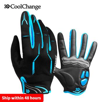 CoolChange zimowe rękawiczki rowerowe ekran dotykowy żelowe rękawice na rower górski Sport pełne palce motocyklowe rękawice rowerowe mężczyźni kobieta tanie i dobre opinie Poliester COTTON Z pełnym palcem Jazda na rowerze 91040 91041 Antystatyczna Blue Red Yellow Black Bicycle gloves Touch Screen