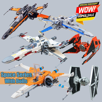 цена на New Space Wars The First Order Tie X Wing Fighter Fit Star Wars Figures 75218 75273 Building Block Bricks lepinings Toy Kid Gift