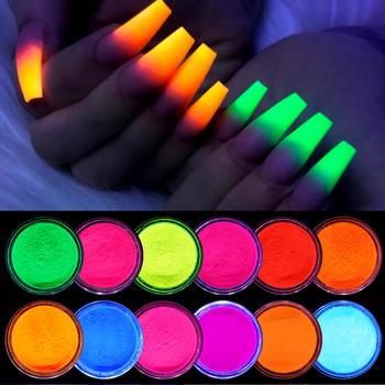 12 pudełek zestaw fluorescencyjny Neon proszek pigmentowy Glitter Shinny Ombre Chrome pył DIY żel polski na paznokcie sztuka dekoracji tanie i dobre opinie CN (pochodzenie) COMBO Approx 1g Box 12 Boxes Powder BROKAT DO PAZNOKCI 49368