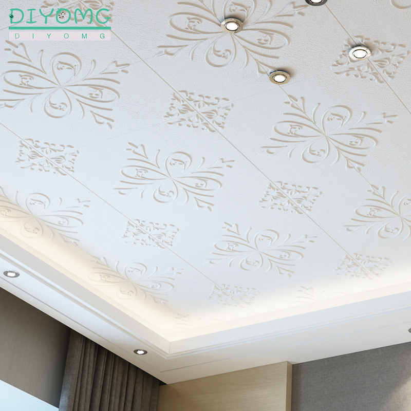 Roof Decor Self Adhesive Wallpaper Living Room TV Background Embossed Wall Sticker 3D Waterproof Roof Ceiling Contact Paper Deca