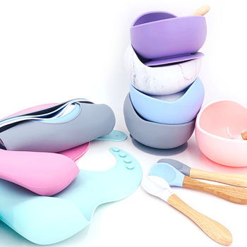 1set Silicone Baby Feeding Bowl Tableware Waterproof Bibs Non-Slip Crockery BPA Free Silicone Dishes for Baby Bowl Baby Plate