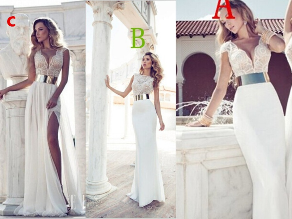 Fashion A-Line Featuring Beaded Bodice Plunging Low-cut V-Neck Bodice Thigh-High Slit Bridal Gown Stock 2018 Bridesmaid Dresses