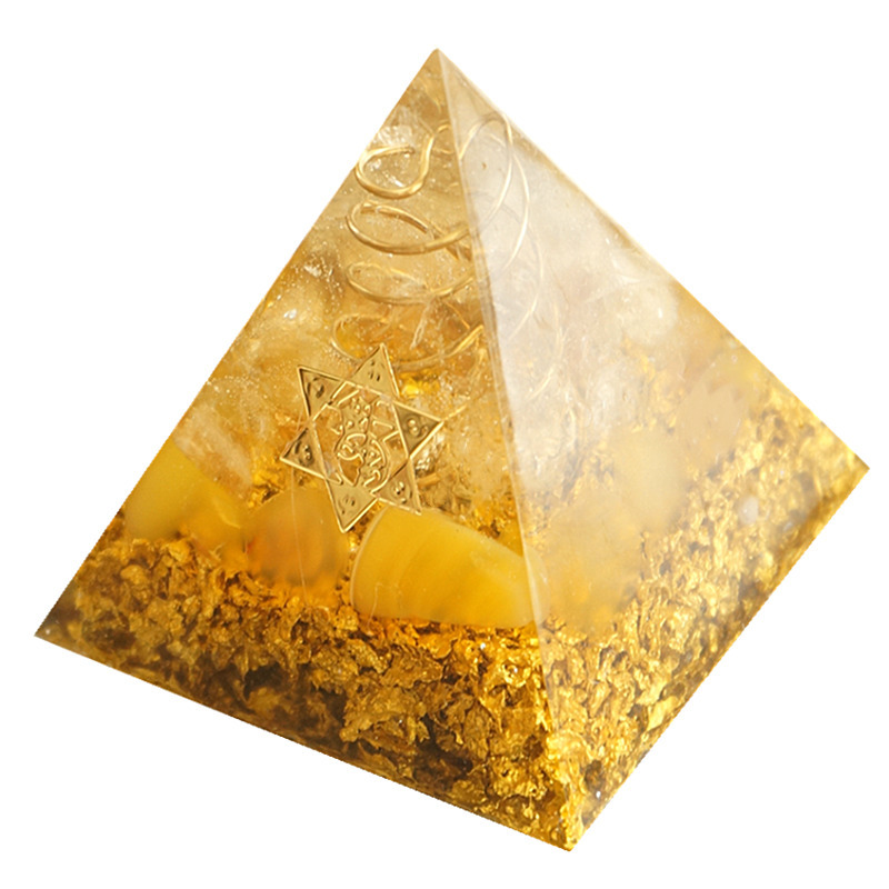 H978c940d7dc94ce79120f7b41a13ebb6c - Orgonite Pyramid 5cm symbolizes the lucky citrine pyramid energy converter to gather wealth and prosperity resin decor