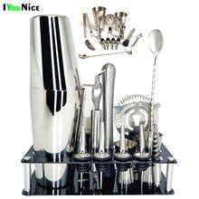 1-14 pièces/ensemble 600ml 750ml en acier inoxydable Cocktail Shaker mélangeur boisson barman navigateur Kit barres ensemble outils avec support de casier à vin