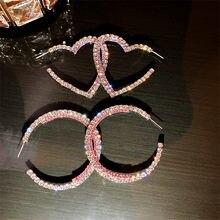 FYUAN-pendientes redondos de cristal con forma de corazón para mujer, bisutería geométrica, rosa, púrpura, con diamantes de imitación, joyería llamativa