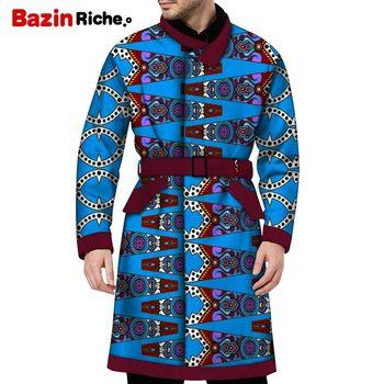 WYN1182 Handsome Men Long Type Top Adjust Belt African Men Clothing with Two Pockets Spring Autumn Long Sleeve Dresses Men Coat