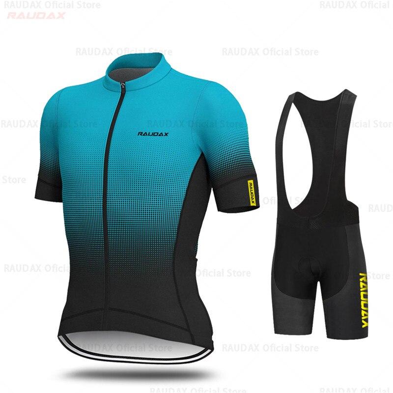 Men Short Sleeve Cycling Jersey Bib Shorts Set Summer Racing Clothes Jersey Kits