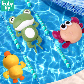 Baby Toys 0 12 Months for Bathroom Swimming Pool Clockwork Crab Frog Duck Bath Toys for Kids One Year Old Wind-up Chain Juguetes недорого