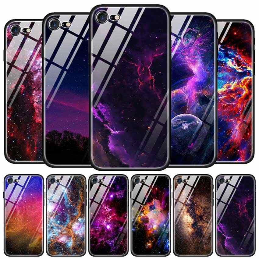 Tempered Glass Case for Apple iPhone 8 7 6 6S Plus Case Cover for iPhone 11 11Pro XS MAX XR X Silicone Edge Star Space Gradient