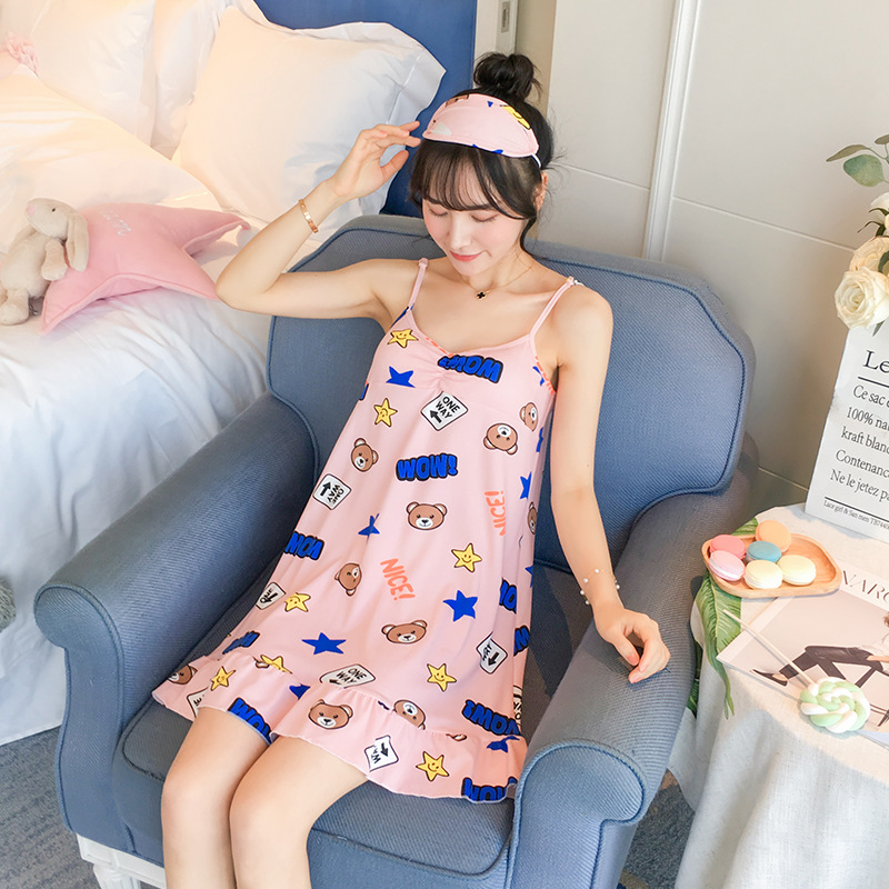 With Chest Pad Send Eye Patch Slip Nightdress Women's Summer Fresh And Lovely Women's Middle School Students Thin Nightgown Larg
