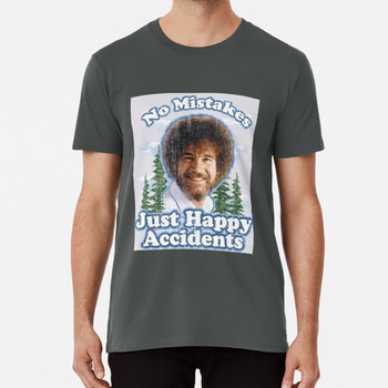 No Mistakes Just Happy Accidents T Shirt Bobross Tumblr Happylittlemistakes Happylittletrees Artists Paintbrush image