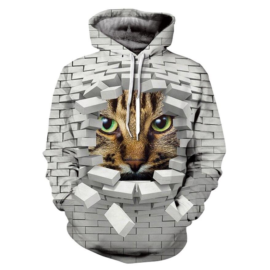 2019 Casual Women's Sports Hoodie 3D Printed Fun Broken Wall Cat Face Hip-hop Long Sleeve Hoodie Sweatshirt