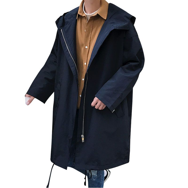 2020 Men's Autumn New Hooded Windbreaker Men's Loose Thin Open Long Jacket Coat